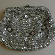 Vintage Beaded Silver-Tone Evening Bag