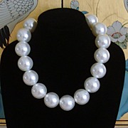 Simulated White Pearl Bauble Necklace