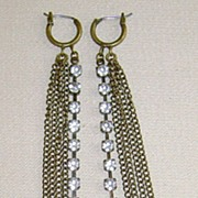 Antique Gold-Tone and Rhinestone Pierced Shoulder Duster Earrings