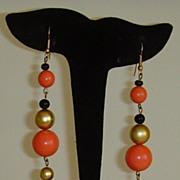 Lucite Bead Dangle Pierced Earrings