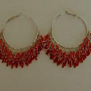 Silver-Tone and Bugle Bead Hoop Pierced Earrings