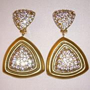 Julian Esquis el Gold-Tone and Rhinestone Clip-On Dangle Earrings