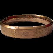 Edwardian Gold Filled Bangle Engraved 1915