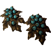 Pair of Miriam Haskell Glass Turquoise Bead Dress Clips