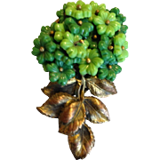Miriam  Haskell Green Glass Flower Dress Clip