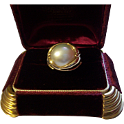 10K Mabe Pearl Ring Maker Signed