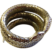 Whiting and Davis Three Coil Silver Snake bracelet