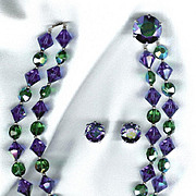 Fabulous Blue/Green Austrian Crystals - Attributed to Vendome - Must See Clasp!