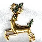 Christmas Reindeer Brooch by Gerry - Cute as can be!