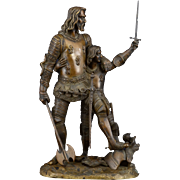 Bronze Sculpture of Knight and His Squire