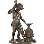 Bronze of Cupid Forging Arrows