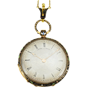 French Lepine Paris 18K Enamel Pendant Watch with Matching Chain