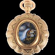 SALE Swiss 14 Karat Gold and Enamel Hunter Case Pocket Watch