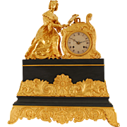 SALE French Figural Mantel Clock of Woman Playing a Piano