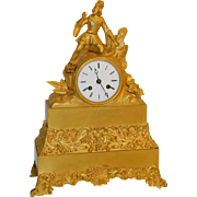 SALE French Gilt Bronze Statue Clock