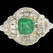 Platinum 0.93 Carat Emerald Ring with Diamonds