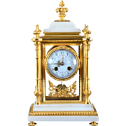 SOLD French Crystal Regulator in Gilt Brass and Carrera Marble