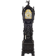 American Carved Oak Tall Case Clock