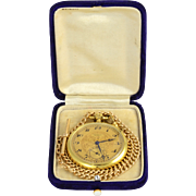 Swiss 18K Yellow Gold Pocket Watch and Chain by Jules Jurgensen