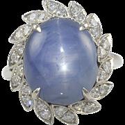 Platinum Blue Star Sapphire Ring with Diamonds