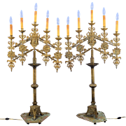 European Pair of Five Light Brass Candelabras