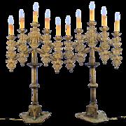 SALE European Pair of Five Light Brass Candelabras
