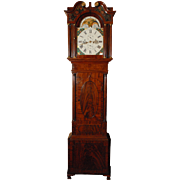 English Exceptional Flame Mahogany Tall Case Clock by Houghton
