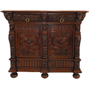 Flemish Oak Baroque Cabinet Server, circa 1640