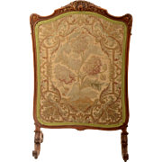 SALE Rococo Fire Screen with Early Needlepoint Work