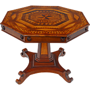 SALE American Marquetry Inlaid Octagon Center Table