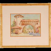 Spanish Village Watercolor by Frances Keffer
