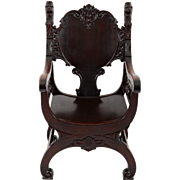 Victorian Ornately Carved Mahogany Arm Chair