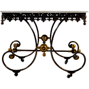 French Cast Iron Bakers Table With Marble Top