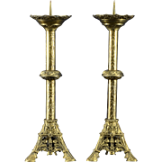 French Pair of Gothic Brass Candlesticks
