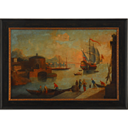 SALE Harbor Scene Oil on Canvas