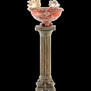 Italian Alabaster Bird Bath on Pedestal