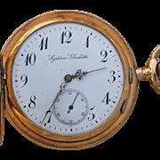 14 Karat Gold Hunters Case Pocket Watch by System Glashutte