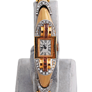 Ladies Diamond and Ruby Wrist Watch in 14K Rose Gold