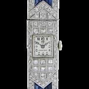 Ladies Art Deco Diamond and Sapphire Wrist Watch by Omega