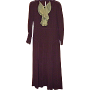 Vintage 1930's Brown Silk Dress With Organdy Collar Size S/M