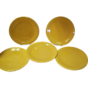 Set Of 5 Yellow Fiesta Luncheon Plates