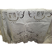 """Large Vintage Linen Cutwork And Lace Tablecloth 74"""" X 104"""