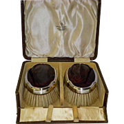 Antique Sterling Silver & Tortoiseshell Clothes Brushes In Original Case By Manoah Rhodes & ..
