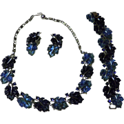 Lisner Blue Lucite Leaf Rhinestone Necklace Bracelet & Earrings set