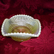 REDUCED Circa 1902 Northwoods Opalescent Vaselin Glass Bowl /  Dish