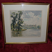 "REDUCED Hans Figura ""Windsor Castle"" Etching In Color Limited Edition 67/250"
