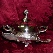 REDUCED Meriden Silver Plate Covered  Butter Dish With Knife