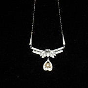 REDUCED Czech 1920's Rhinestone And Pearl Necklace On A Sterling Silver Chain