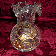 REDUCED Crackle Glass Vase