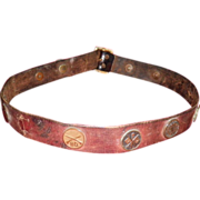 REDUCED 10 WWI Military Collar Disks On A Leather Belt